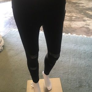 Beyond Yoga black leggings with mesh stripes